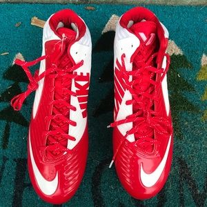 Nike red and white mens football cleats size 13.5